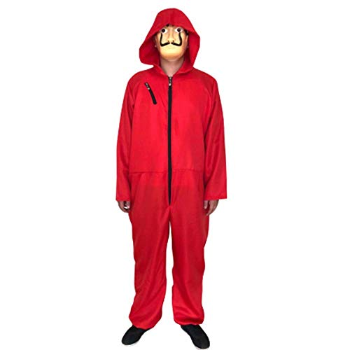 Unisex Erwachsene La Casa De Papel Cosplay Kostüm mit Maske Salvador Dali One Piece Red Kostüm Overall Hoodie Overall Halloween Party Kostüm für - 80's Kostüm Kunststoff Maske
