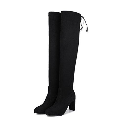 UH Femmes Chaussures Bottines de Cuissarde avec Lacets à Talons Haut Bloc Bout Pointu Chic Chaud pour Lhiver Noir