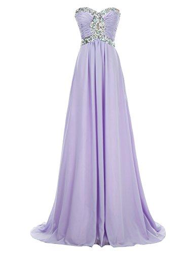 Erosebridal Schatz Brautjungfer Kleid Lange Chiffon Ballkeider Kristall Lavendel DE 32