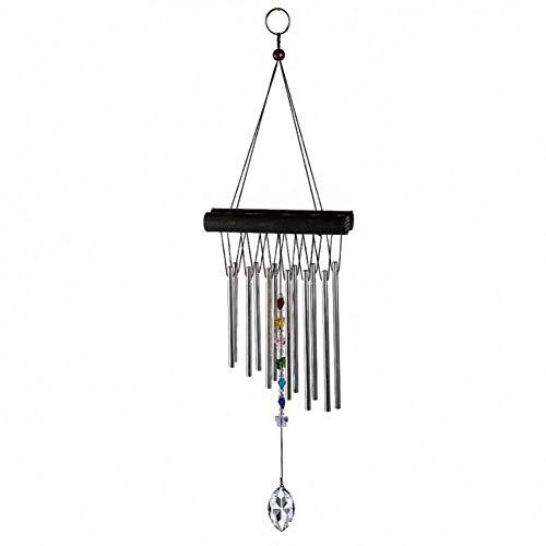 MQAIFEKS 12 Röhren Chakra Glockenspiel 50mm klare Kristallprismen Edelstein Tropfen Windspiele Schmetterling Regenbogen Chakra Maker Perlen Home Garden Decor