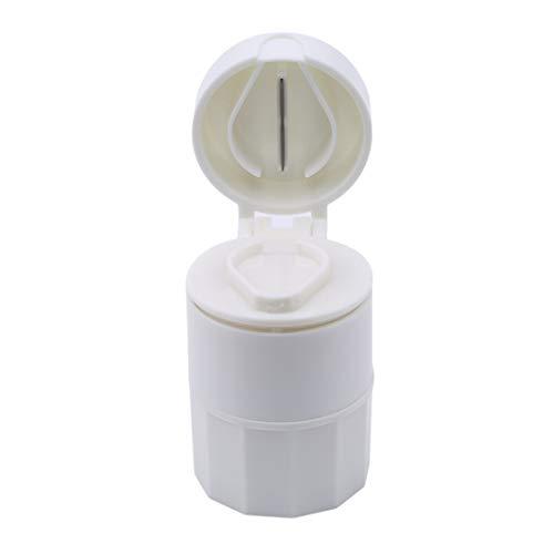VWH Multifunktionale Pille Tool Medizin Crusher Grinder Tablet Splitter Aufbewahrungskoffer 4 Schicht Pill Box Schneiden Tabletten (weiß) - 5 Teiler Weiß Tab