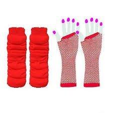 NEON RETRO 1980der Stulpen und fischnetzhandschuhen Set Fancy Dress Kostüm verschiedenen Farben schwarz blau türkis grün orange pink lila rot weiß gelb (RB Mode Kleidung)