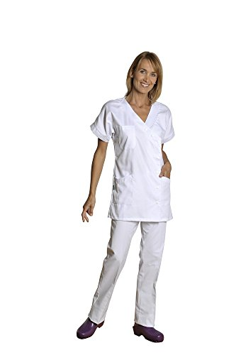 Holtex wbal07_ 95Damen Kleid Tunika, Ostsee, Pique V-Ausschnitt, kurze Ärmel, weiß, Größe 5