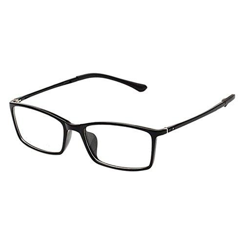 Haodasi Retro TR90 Kurzsichtigkeit Hochauflösend Brille Schlank Felge Computer Goggles Kurzsichtig Linsen -0.50~-6.00 für Studenten(Stärke -2.0, Schwarz) (Diese sind nicht Lesen Brille)