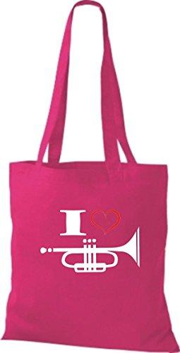 Shirtstown Stoffbeutel Musik I love Trompete pink