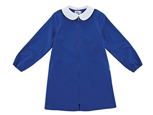 Grembiule scuola siggi linea happy school - elementare bambina colore blu senza ricamo personalizzabile abbottonatura centrale con zip, colletto bianco. disponibile nelle taglia dalla 7 a 15 anni