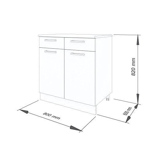 """80 cm Unterschrank für die Küche \""""Alina"""" (1006) (Weiß-lackiert)"""