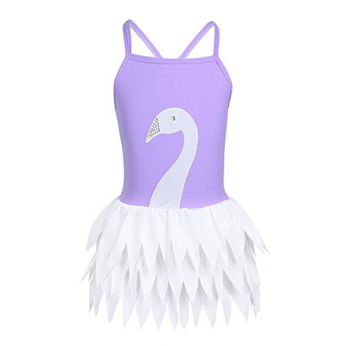 CHICTRY Mädchen Einteiler Badeanzug Schwan Muster 1PC Bikini Bademode Schwimmanzug mit Rock Gr. 98 104 116 128 140 152 Lavendel 140
