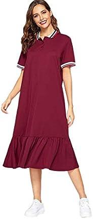 SheIn Women's Summer Short Sleeve Ruffle Hem Midi Dress Loose T Shirt Polo D