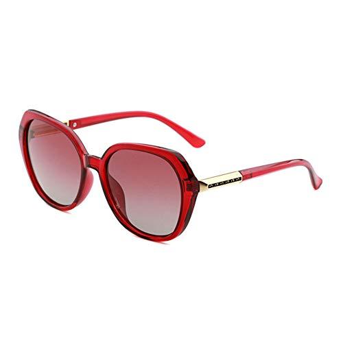 GJY Damen Polarisierte Sonnenbrille Progressive Bicolor Sonnenbrille HD Driving Glasses Fashion Retro Big Frame Sonnenbrille,Red
