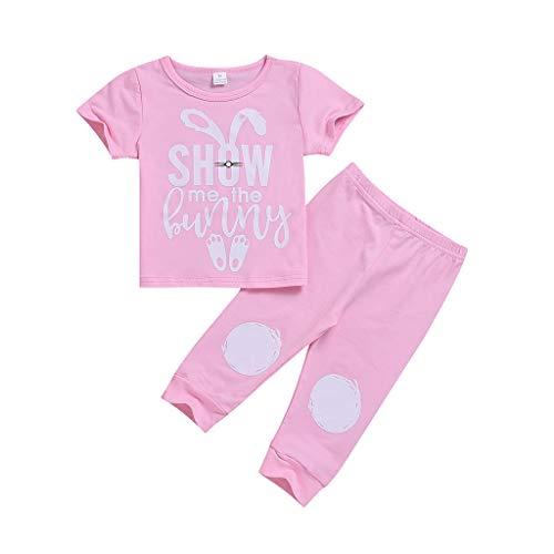 ke Set Kinder Baby Mädchen Jungen Cartoon Brief Kaninchen Print T-Shirt + Hose Outfits (Rosa,90) ()