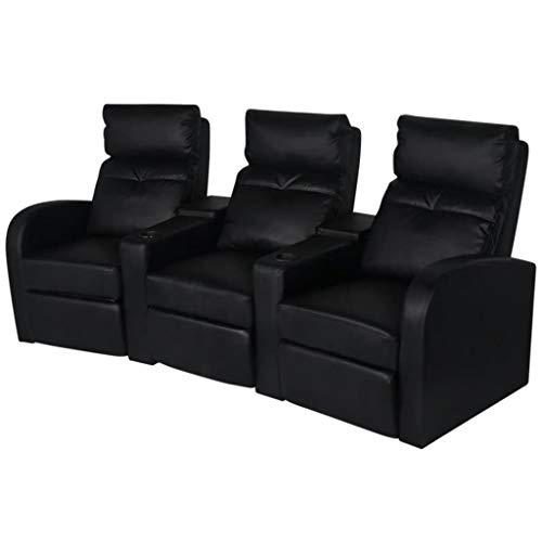 binzhoueushopping Sessel mit 3 Sitzern aus schwarzem Kunstleder, 227 x 85 x 103 cm, groß für die Dekoration