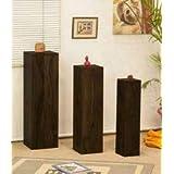 B.L Wood Furniture Sheesham Wood Set 3 Maverick Candle Light Stands For Living Room | Dark Brown Finish