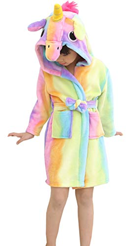 OKSakady Camicia da Notte con Cappuccio Unicorno per Bambini, Kid Unisex Flanella Arcobaleno Stella Biancheria da Notte Animale Cosplay Cartoon Costume Homewear Pigiama per Ragazzo Ragazza
