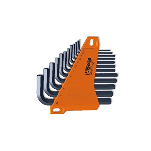 Beta 96n/sc12 - set chiavi a brugola professionali, chiavi esagonali maschio piegate brunite con supporto - 12 pezzi. chiavi a brugola misure: 2 - 2,5 - 3 - 3,5 - 4 - 4,5 - 5 - 6 - 7 - 8 - 9 - 10 mm