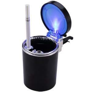 kfz auto aschenbecher blau led beleuchtung kippent ter glutt ter buro wohnung mit deckel schwarz. Black Bedroom Furniture Sets. Home Design Ideas