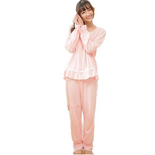 DMMSS Women 'S Spring & Autumn Pyjamas 2 - Stück Baumwolle Langarm - Pyjama Home Service Set Pink
