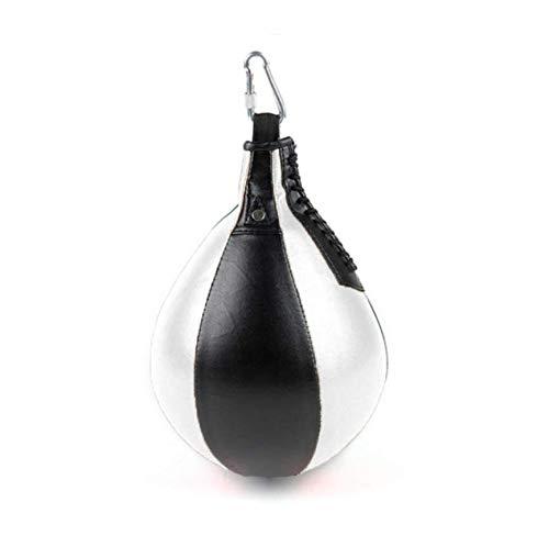 Leuchter Boxbirne Punching Ball Speedball Punchingball Maisbirne Speed Ball für Erwachsene und Kinder + für Zuhause und Fitnessstudio, inkl. Karabinerhaken (Weiß/Schwarz)