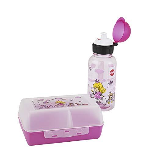 Emsa 518137 Kinder Set Trinkflasche + Brotdose, Motiv: Prinzessin, BPA frei, Material: Trinkflasche aus Tritan, bruchfest und unbedenklich, Brotdose aus Kunststoff
