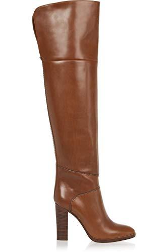 HN Boots Damen Overknee Schenkelhoch Oberschenkel Hohe Stiefel Über Das Knie Blockabsatz Braun Leder Mode Hoher Absatz Schuhe Größe 35-46, Brown