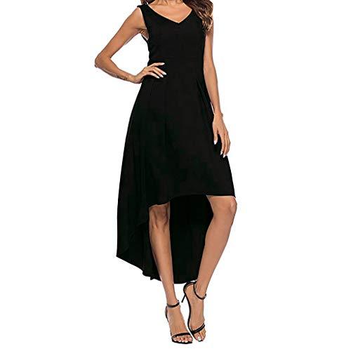 MAYOGO Damen Kleid Kleider Damen Sommer Casual Lang Vokuhila Kleid Vorne Kurz Hinten Lang,Solide Trägerkleid Midi Kleid Beiläufiges Cocktailkleid Partykleid