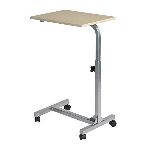 YueQiSong Laptop-Schreibtisch-Wagen-Justierbare Höhe Computer-Stand-Seitentisch mit Rolling Caster für Bettsofa-Leseessetisch, Holzfarbe -