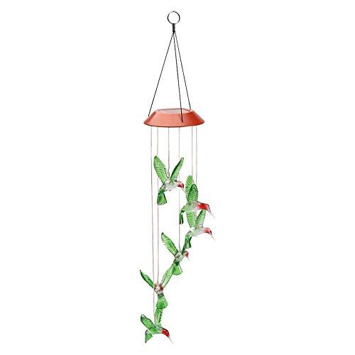Carrillón Viento LED Solar Cambiante Color Carrillones para Jardín Six Hummingbird Carillón Viento Colgante Carillón de Viento LED Energía Solar Wind Chimes Cambiante Color(Colorful)