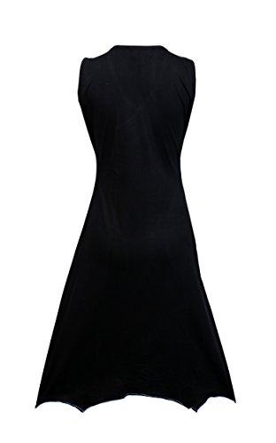 Damen Ärmelloses V-Ausschnitt Kleid mit buntem Patch und Stickerei Schwarz Und Blau