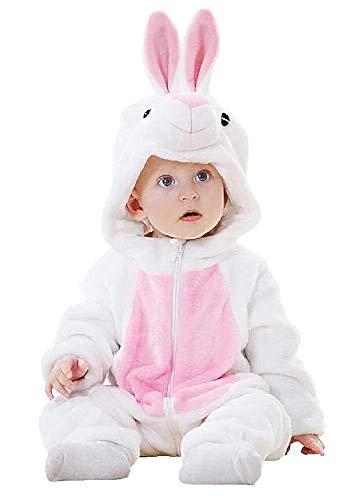 Tuta coniglio Bebe - Neonato - Pile - Morbido Peluche - Travestimento - Tutina da Coniglietto - Carnevale - Costume - Bambine - Halloween - Unisex - Bambini - Misura 100 - bianco e rosa 18 - 24 mesi