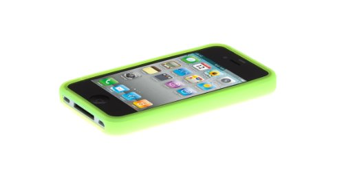 wortek® Silikon Schutzhülle geriffeltes Kreismuster extra Grip Apple iPhone 4 / 4S Schwarz Silikon - Grün