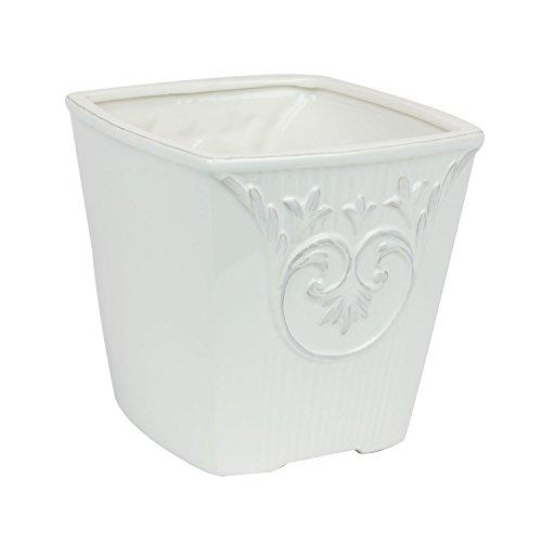 Keramiktopf 16 x 16 cm weiss Blumentopf Übertopf shabby Vintage Topf