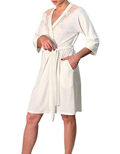 Millesime Bademantel Damen Kurz | Kimono Spitze, Kimono Damen Sexy, Nachthemd Damen Große Größen, Morgenmantel Damen, Nachthemd, Nachtwäsche Pyjama, Bademantel Sexy | Bio-Merinowolle und Seide - Satin-nachthemd Plus