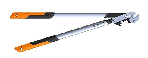 elektro baumschere Fiskars PowerGearX Amboss-Getriebeastschere für trockenes und hartes Holz, Antihaftbeschichtet, Gehärteter Präzisionsstahl, Länge 80 cm, Schwarz/Orange, LX99-L, 1020189