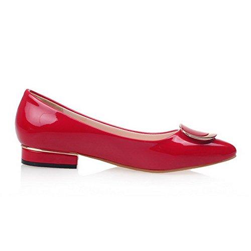 VogueZone009 Femme Tire Pointu Fermeture D'Orteil à Talon Bas Verni Couleur Unie Chaussures Légeres Rouge