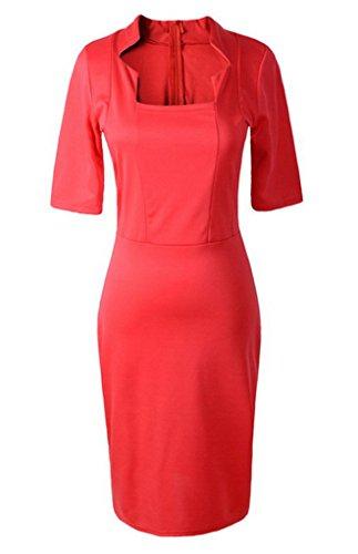 Smile YKK Steh-kragen Damen 1/2 Aerme Damen Bodycon Knielanges Kleid Cocktailkleid Festkleid Bleistiftkleid L Rot