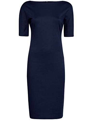oodji Collection Damen Kleid mit U-Boot-Ausschnitt Blau (7900N)
