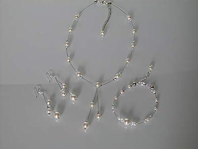 Parure bijoux Collier bracelet boucles d'oreille Ivoire Crème Ecru Beige clair blanc cassé Cristal Mariée Mariage Soirée Cérémonie Coktail (p robe) perles (pas cher, petit prix)