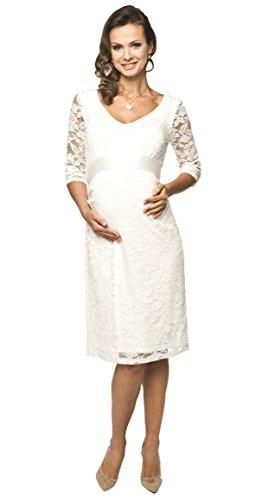 Weißes Umstandskleid aus Spitze mit weißer Schleife knielang 3/4 Arm