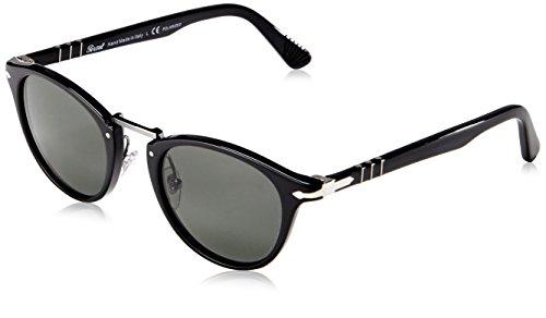 Persol Unisex PO3108S Sonnenbrille, Gestell: schwarz, Gläser: grün polarisiert 95/58, Small (47)