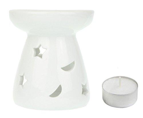 Duftlampe Mond & Sterne mit Teelicht - Keramik - Weiß - 9 - Mond Sonne Badezimmer Und Sterne