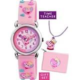 Peppa Pig para niños reloj infantil de cuarzo con esfera blanca para aprender la hora pantalla rosa correa de silicona APP002