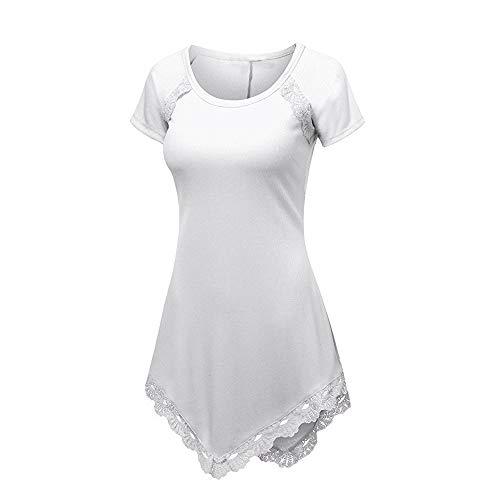 CAOQAO Lange Version Von Mode Schlank GrößE Code Sommer Frauen Kurzarm T-Shirt Spitze ()