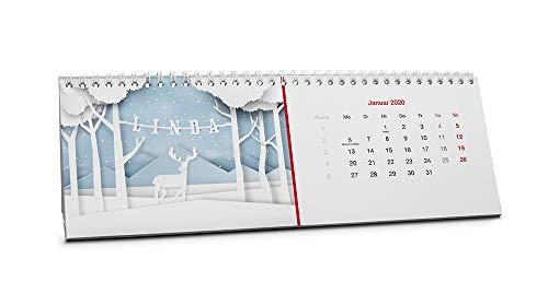 Namenskalender Linda, Tischkalender 2019-2020 als personalisierter Kalender mit Namen - Startmonat November 2019 - Farbe : Rot