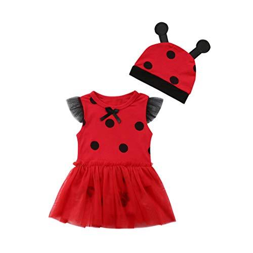 Folge deinem Herzen Neugeborenes Säugling Baby Mädchen Marienkäfer Spielanzug Kleid Ärmellos Strampler + Hut (12-18 Monate)