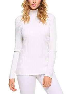 Abollria Suéter Elegante para Mujer Jerséy Clásico para Otoño Invierno Cuello Alto y Cuello Rotondo
