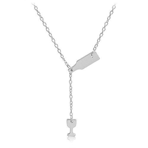 Tonpot Damen Halskette Elegant Silber Kette Wein Und Weinglas Anhänger Creative Design Schmuck Halsband für Frauen Mädchen