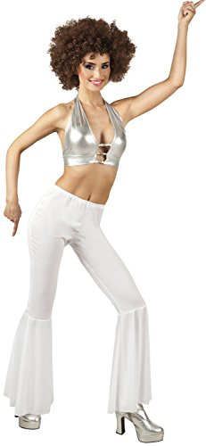 White Flared Trousers Ladies Disco Fancy Dress Hippie Womens Adults Costume Acc