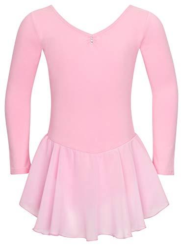 tanzmuster Kinder Langarm Ballettkleid Anna aus Baumwolle mit Glitzersteinen und Chiffon Röckchen in rosa, Größe:104/110 (Billig Ballerina Kostüme)
