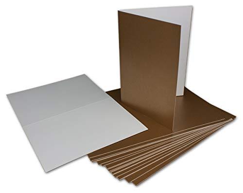 30 Klapp-Karte Umschlag Set DIN A6/C6 Gold matt glänzend - Karte A6 10,5 x 14,7 cm Umschlag C6 11,5 x 16 cm - Eine Karte-Umschlag-Kombination der Premium-Klasse