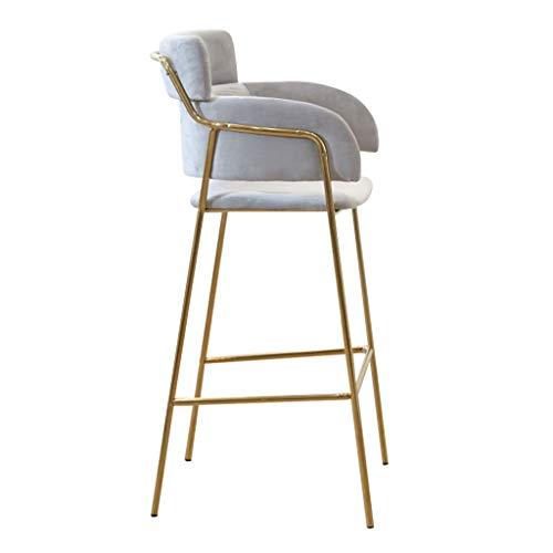 LHNLY-Esszimmerstühle Samt Stoff Barhocker Moderner Barstuhl Tresenhocker Fußstütze Barstühle mit Lehne Metall Beine für Bartisch Küche Pub Bar Kaffee Hausbar Hochstuhl,Grau